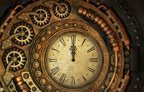Steampunk clock, by user 3209107 on pixabay